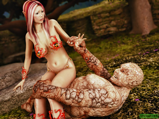 Pink-haired boobed fairy fucking with disgusting - Picture 2
