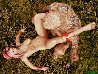 Filthy golem handling busty fairy with pink hair - Picture 1