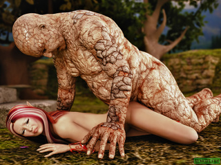 Filthy golem handling busty fairy with pink hair - Picture 5