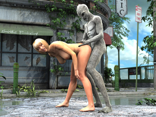 Grey monster drilling boobed blondie in doggy style - Picture 2