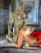 Inked ponytailed redhead blowing Frankenstein kneeling