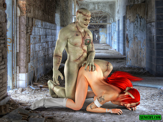 Inked ponytailed redhead blowing Frankenstein - Picture 1