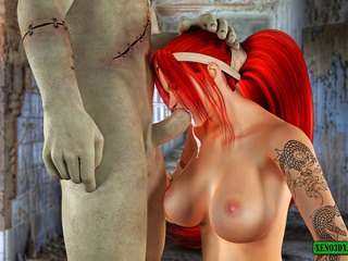 Inked ponytailed redhead blowing Frankenstein - Picture 5