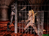 Blonde ponytailed buxom in chains banged by werewolf in the cage