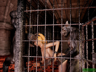 Blonde ponytailed buxom in chains banged by werewolf - Picture 5