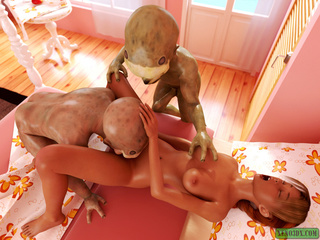 Two short aliens handling red-haired slut - Picture 2