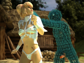 Blonde fairy gets attacked and fucked by toon blue - Picture 1