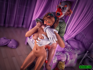 Pigtailed red teen fucking with skinny clown - Picture 2
