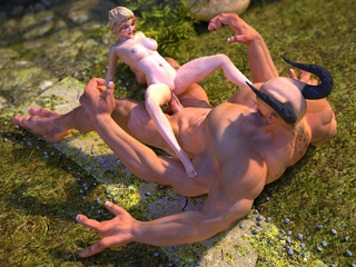 Huge monster with 4 hands and horns drilling hot babe - Picture 1