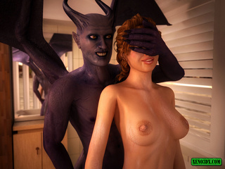 Purple demon with wings attacks red beauty in the - Picture 5