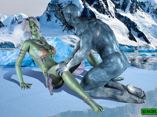 Green-skinned babe gets poked hard on the ice by - Picture 1