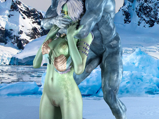 Green-skinned babe gets poked hard on the ice by - Picture 2