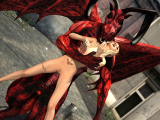 Red dragon with wings and horns pounding hot blonde - Picture 2