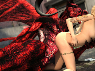Red dragon with wings and horns pounding hot blonde - Picture 4