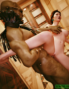Raunchy brunette beauty riding black aboriginal's dong on the floor