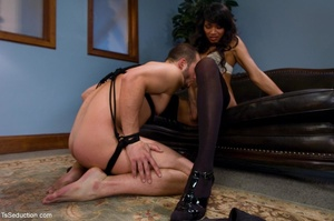 Rock-hard tranny in sexy black stockings - XXX Dessert - Picture 6