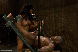 Athletic ebony tranny hangs in the air w - XXX Dessert - Picture 15