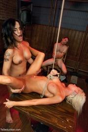 dark-haired tranny stripper steals