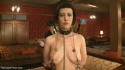 good-looking brunette submissive grimaces