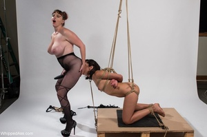 Curvy mistress in lingerie plays with her raven haired slave - XXXonXXX - Pic 15