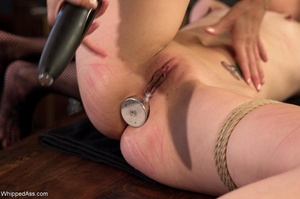 Tied up brunette gets her both tight holes drilled hard - XXXonXXX - Pic 14