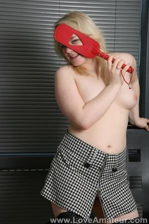 Pudgy blonde in stockings paddles her own ass raw, and masturbates - XXXonXXX - Pic 8