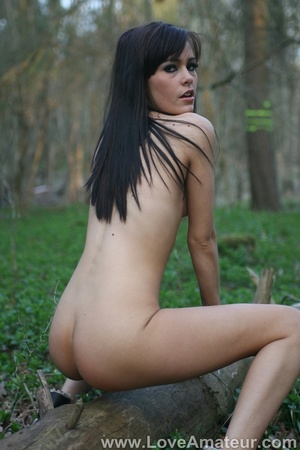 Bony a-cup brunette spreads wide showing her shaved pussy in the woods - XXXonXXX - Pic 5