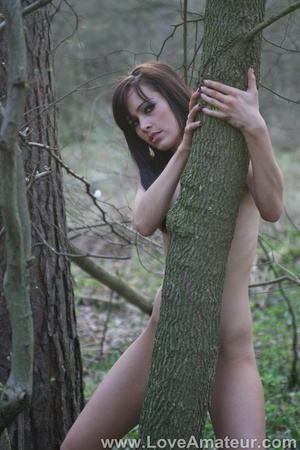Bony a-cup brunette spreads wide showing her shaved pussy in the woods - XXXonXXX - Pic 6