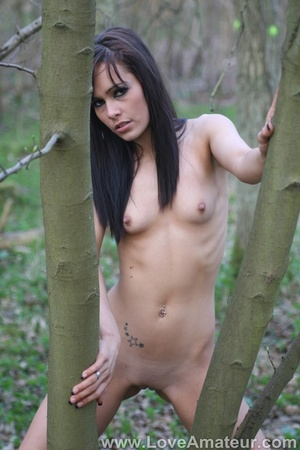 Bony a-cup brunette spreads wide showing her shaved pussy in the woods - XXXonXXX - Pic 7