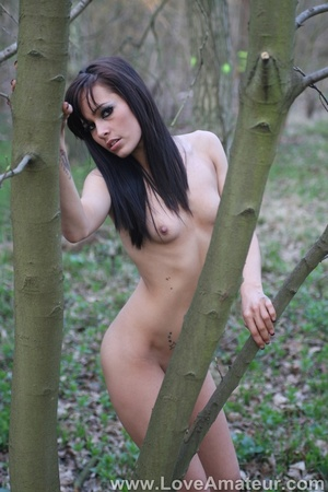 Bony a-cup brunette spreads wide showing her shaved pussy in the woods - XXXonXXX - Pic 9