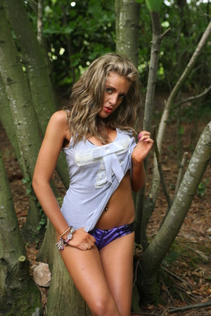 A buxom glamorous blonde fondles her gorgeous tits in the forest - XXXonXXX - Pic 2