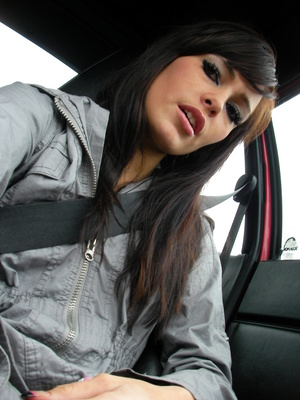 A-cup brunette, naked under her big coat, gets risky in public - XXXonXXX - Pic 4