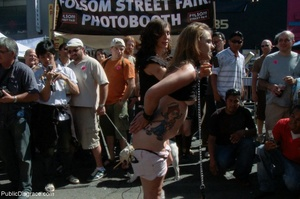 Blonde whore is led around a street fair - XXX Dessert - Picture 2