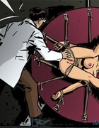 Dark haired slave squirts and gets a mouthful of nasty jizz. Harem Horror