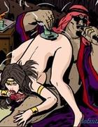 Brunette slave sucking her master's dick in a 69 position. Harem Horror