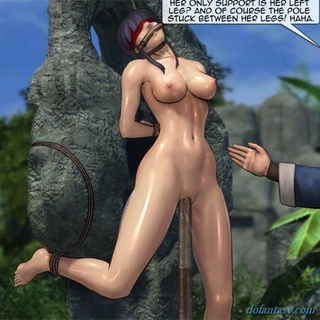 Blue haired girl gets a rope around her - BDSM Art Collection - Pic 2