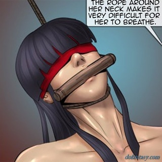 Blue haired girl gets a rope around her - BDSM Art Collection - Pic 3