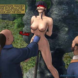 Blue haired girl gets a rope around her - BDSM Art Collection - Pic 4