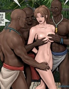Busty white girl gets shared by a horny black tribe. Island Adventure
