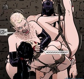 Slutty mistress pees in her slave's mouth with so much pleaure. Prison