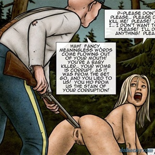 Long haired blonde chick gets a big gun - BDSM Art Collection - Pic 4