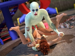 Tattooed bald man bangs a ginger gal in doggy - Cartoon Sex - Picture 1