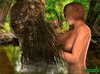 Horny forest creature fucking a busty brunette gal
