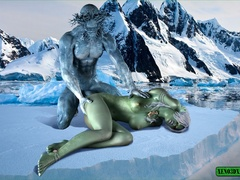 Green lady riding iceman's big dong with - Cartoon Sex - Picture 1
