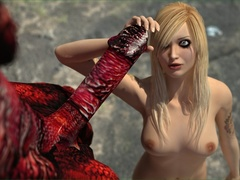 Blonde tattooed slut getting impaled on a red - Cartoon Sex - Picture 1