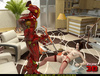 Red robot fucks a short haired bitch and she loves it