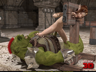 Green beast tortures a brunette and cums all - Cartoon Sex - Picture 2
