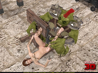Green beast tortures a brunette and cums all - Cartoon Sex - Picture 3