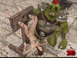 Green beast tortures a brunette and cums all - Cartoon Sex - Picture 4