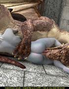 Blue elf slut sucks dinosaur's huge dick with joy